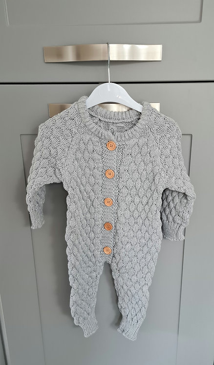 Grey Chunky Knitted Pramsuit