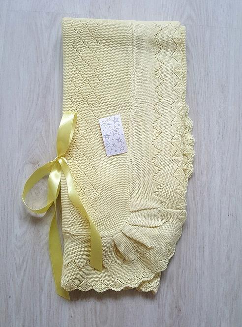 Yellow Crochet Knitted Cot Shawl