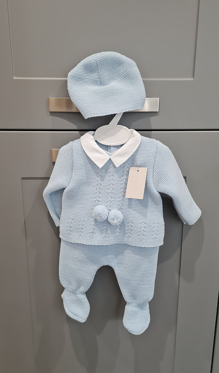 Boxed Baby Blue Pom Pom Knitted Set