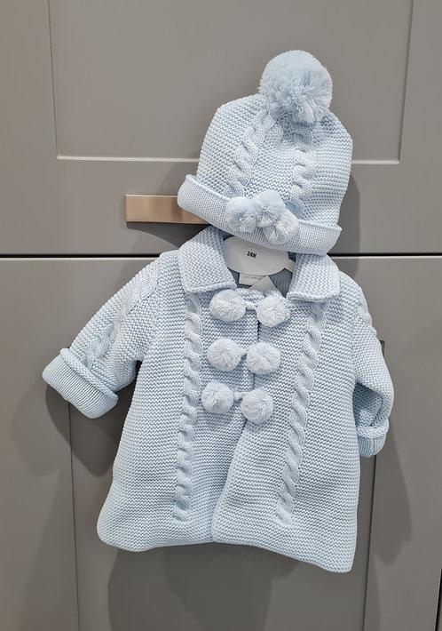 Baby Blue Chunky Knitted Pom Pom Jacket & Hat Set