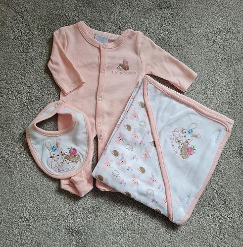 Premature Rabbit Sleepsuit, Hooded Towel & Bib Set