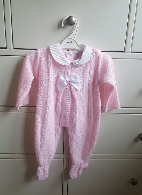 Baby Pink Cable Knitted Bow Sleepsuit