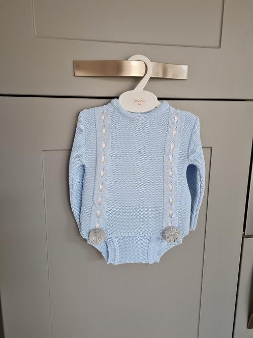 Baby Blue & Grey Pom Pom Knitted Bloomer Set