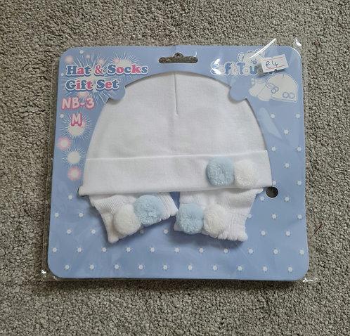 Baby Blue & White Pom Pom Hat & Socks Set