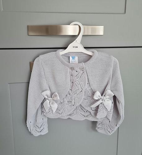 Grey Bow Crochet Knitted Cardigan
