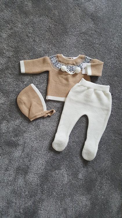 Cream & Camel Knitted Pom Pom Bonnet Set