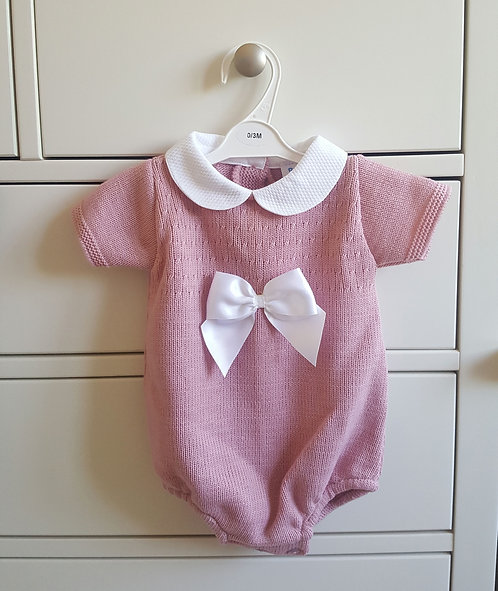 Dusky Pink Bow Knitted Romper