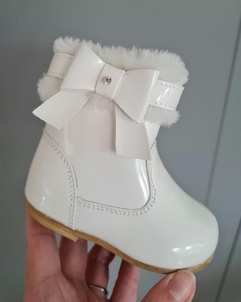 White Faux Fur Trim Diamante Boots