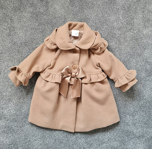 Spanish Brown Frill Bow Hooded Coat