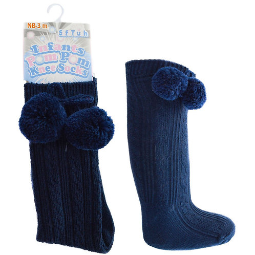 Baby Blue Pom Pom Knee High Socks