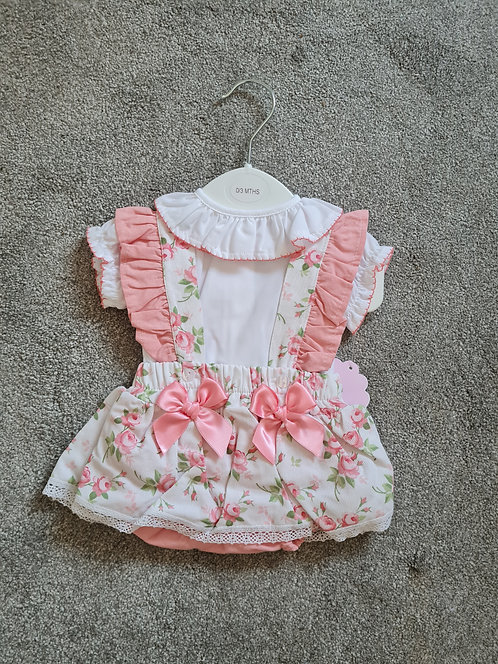 Peach / Green Floral Bow Bloomer Set