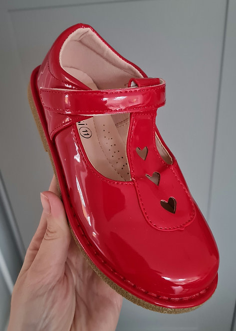 Red Patent Heart Detail Velcro Shoes