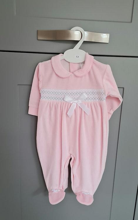 Baby Pink Smocked Velour Sleepsuit
