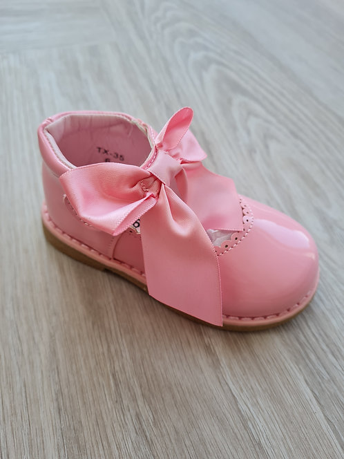 Pink Patent Bow Velcro Shoes