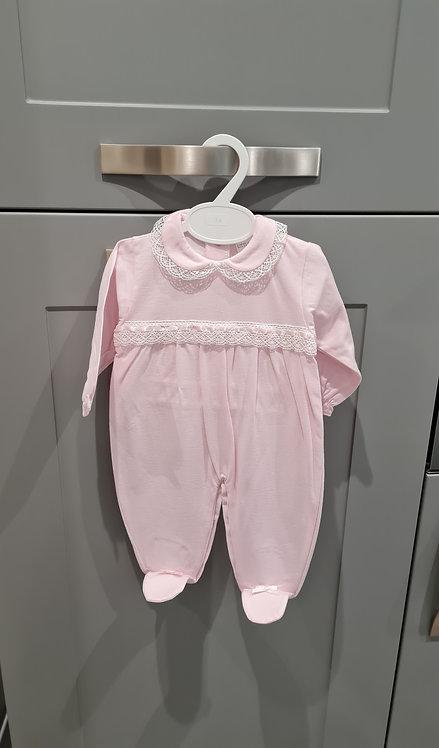 Pink Lace Trim Sleepsuit