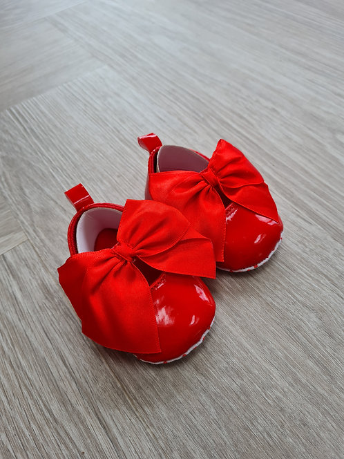 Red Ribbon Bow Soft Sole Shoes
