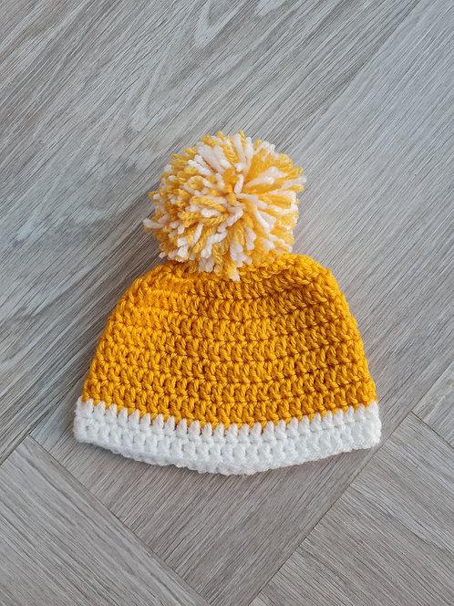 Handmade Mustard & White Knitted Pom Pom Hat