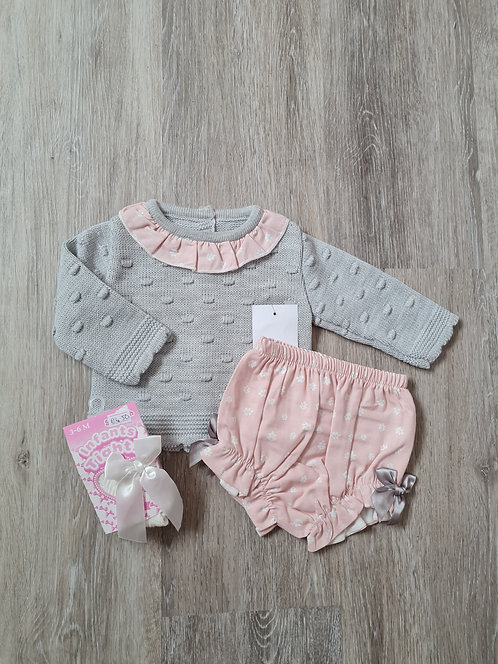Grey & Pink Knitted Bloomer & Tights Set