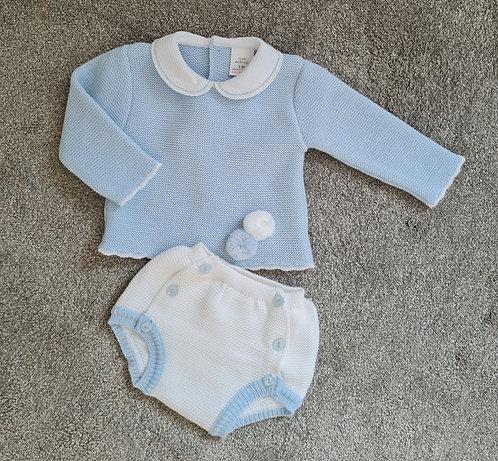Baby Blue & White Knitted Pom Pom Set