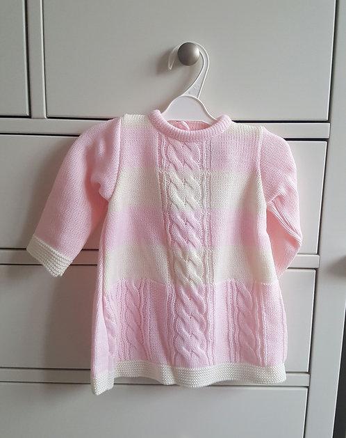 Baby Pink & Cream Striped Jumper Dress