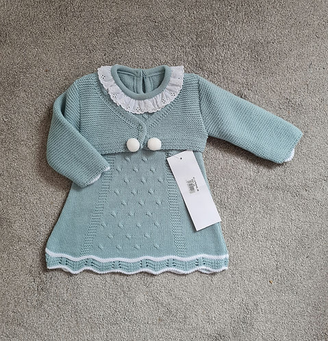 Green Frilly Collar Knitted Pom Dress Set