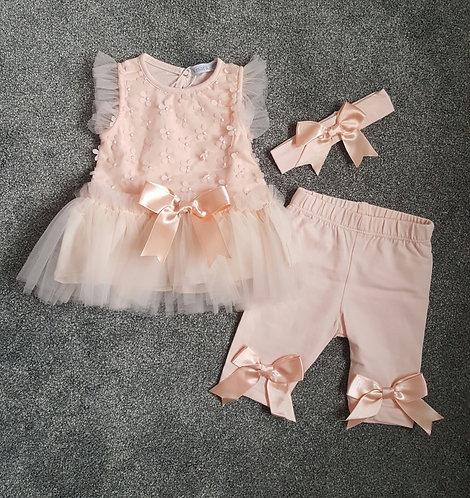 Peach Raised Bow Tutu Leggings Set & Headband