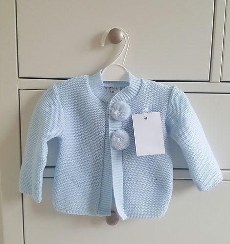 Blue Knitted Pom Pom Cardigan