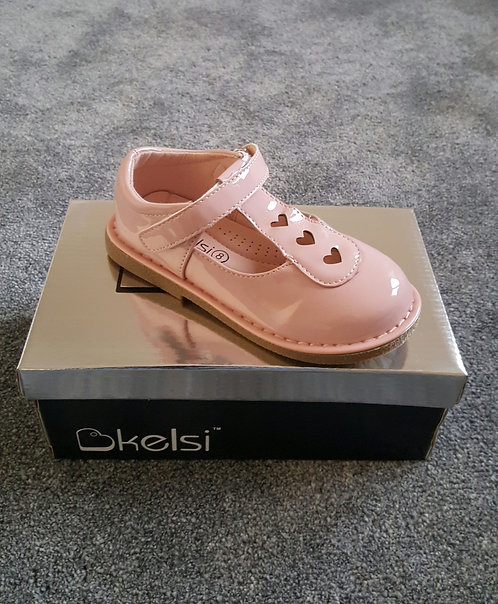 Pale Pink Patent Heart Detail Velro Shoes