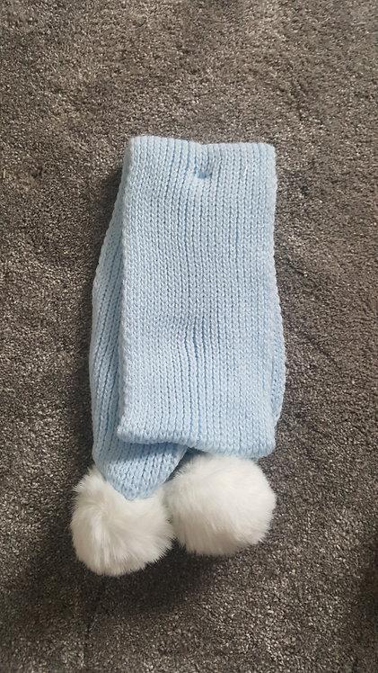 Blue Knitted Fluffy Pom Pom Scarf