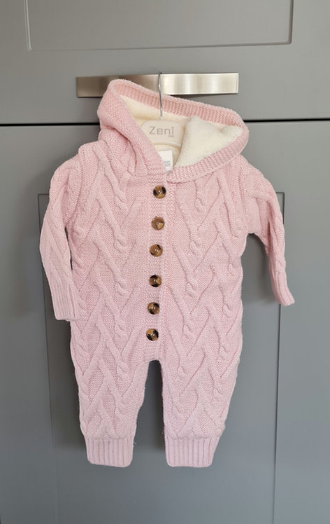 Chunky Pink Cable Knitted Hooded Pramsuit