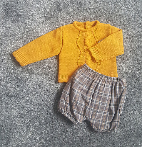 Mustard & Brown Checked Knitted Shorts Set
