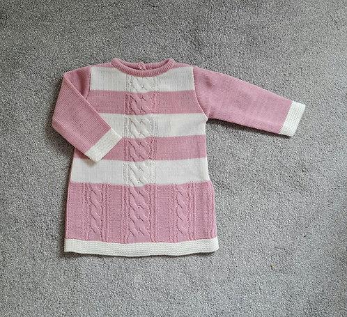 Dusky Pink & Cream Striped Jumper Dress