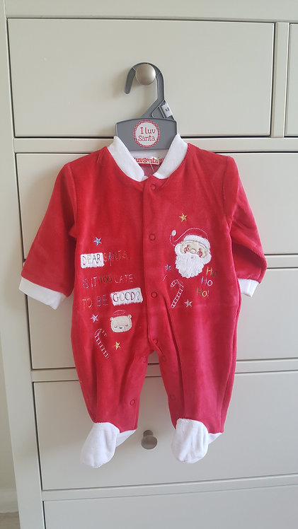 Dear Santa Is It To Late To Be Good Velour Sleepsuit