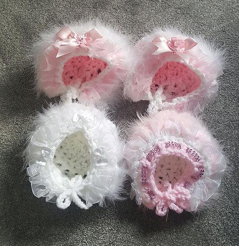 Handmade Pretty Faux Fur Trim Bonnet