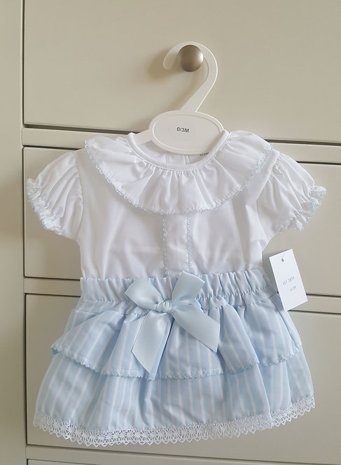Baby Blue & White Striped Bow Bloomer Set