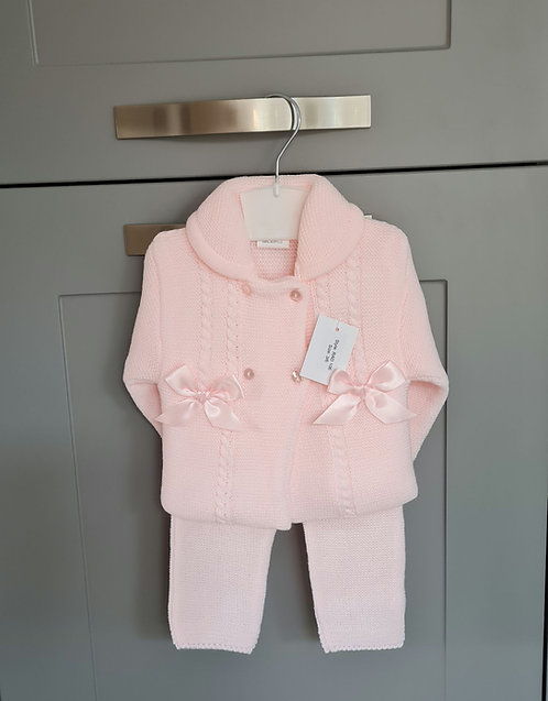 Baby Pink Chunky Knitted Bow Set
