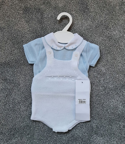 White & Baby Blue Knitted Dungaree Romper Set