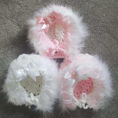 Handmade Faux Fur Trim Bonnets