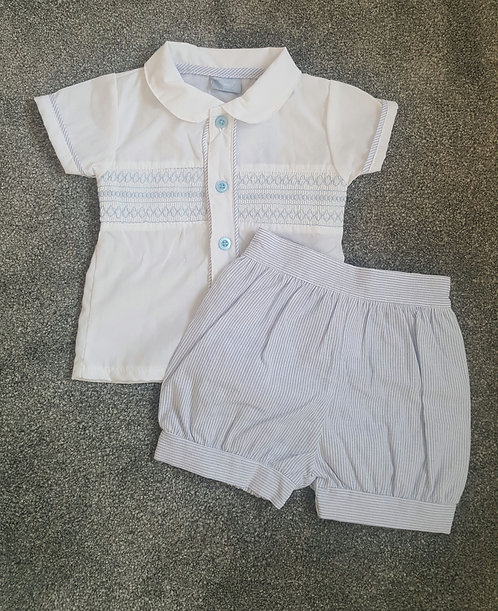 White / Blue Smocked Polo Shirt Set