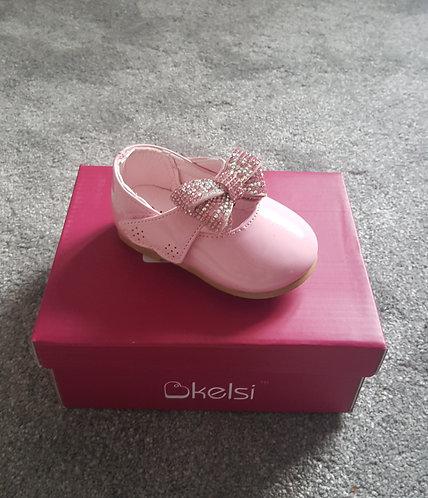 Pink Diamante Bow Velcro Patent Shoes