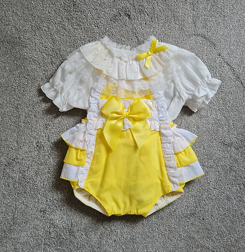 Wee Me Yellow & Cream Lace Bow Romper