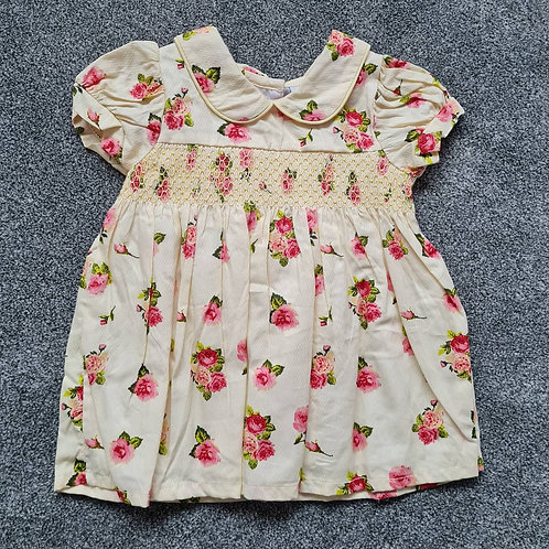 Yellow Floral Smocked Dress