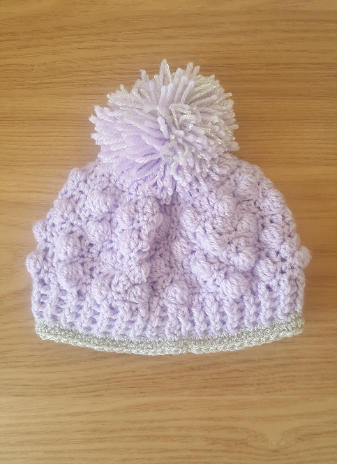 Lilac Glitter Handmade Pom Pom Hat