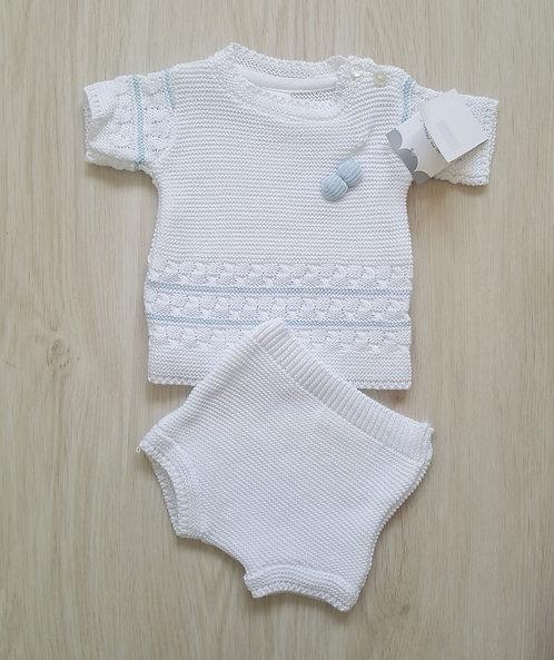 White & Baby Blue Knitted Pom Pom Set