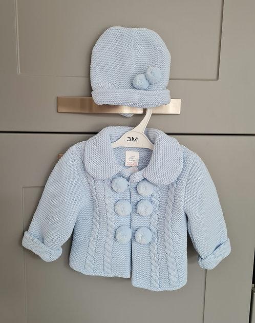 Baby Blue Chunky Pom Pom Jacket & Hat Set
