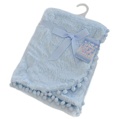 Blue Super Soft Pom Pom Wrap