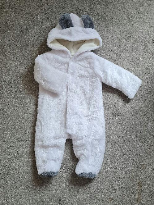 Unisex White Super Soft Teddy Bear Pramsuit