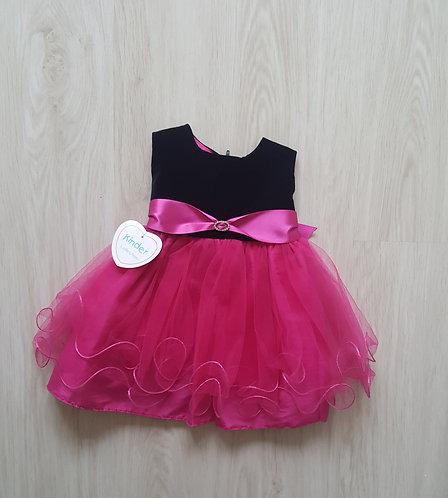 Black Velvet & Pink Diamante Party Dress
