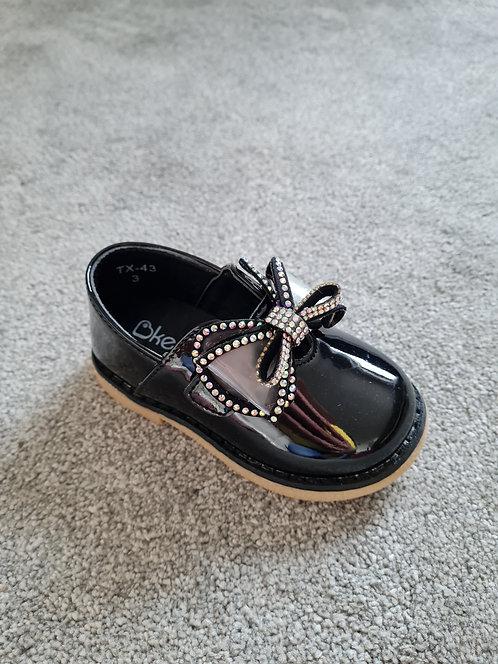 Black Velcro Diamanté Bow Shoes