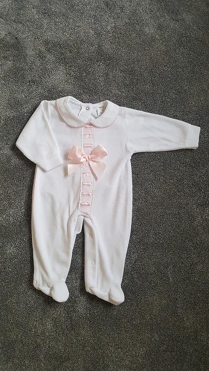White / Pink Ribbon Bow Sleepsuit